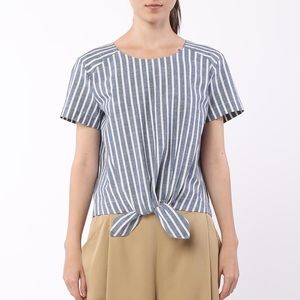 Movint Striped Front Tie Top